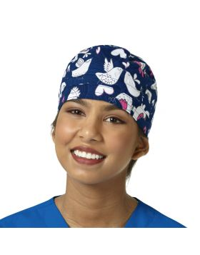 Love Birds Navy Scrub Cap