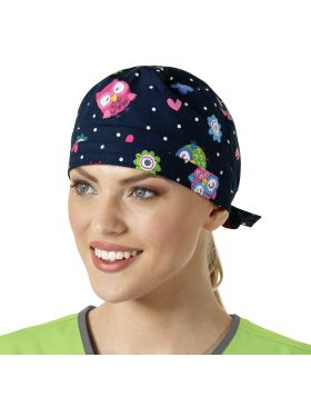 Owl Right Navy Scrub Cap